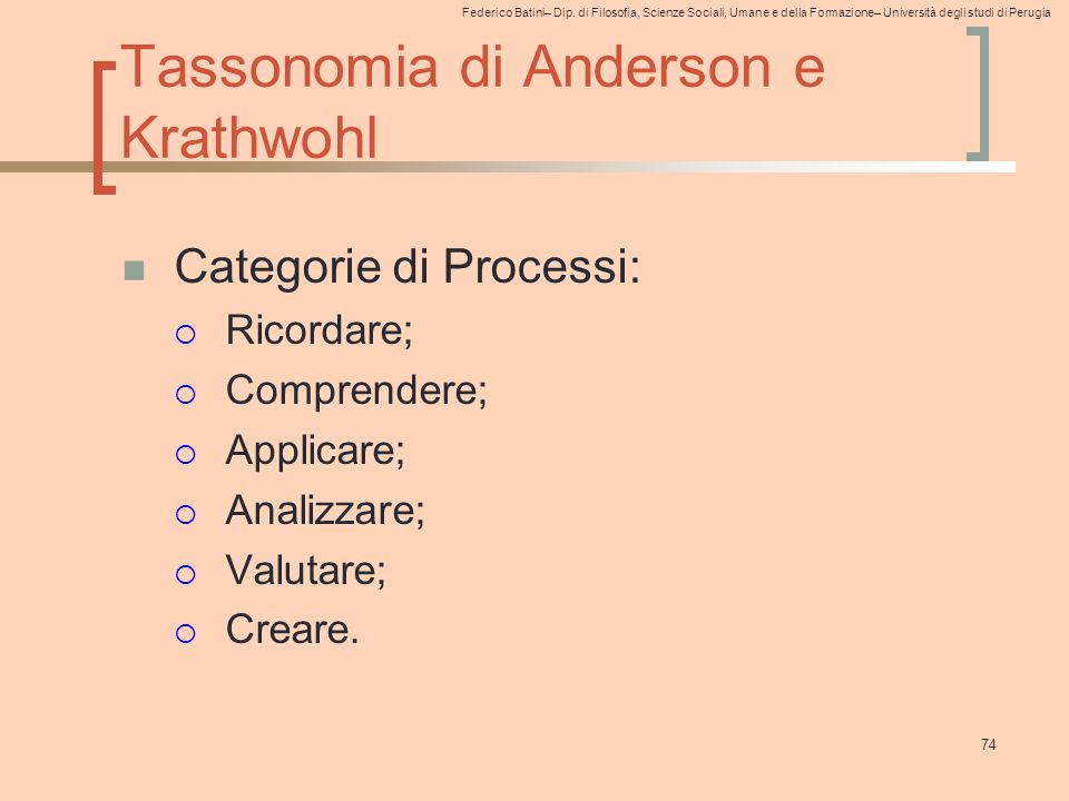 Federico Batini– Dip. di Filosofia, Scienze Sociali, Umane e della Formazione– Università degli studi di Perugia 74 Tassonomia di Anderson e Krathwohl