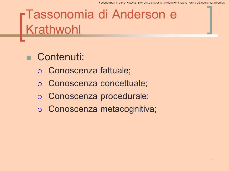 Federico Batini– Dip. di Filosofia, Scienze Sociali, Umane e della Formazione– Università degli studi di Perugia 76 Tassonomia di Anderson e Krathwohl