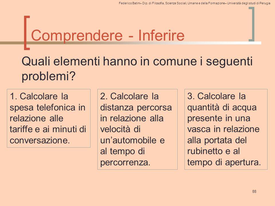 Federico Batini– Dip. di Filosofia, Scienze Sociali, Umane e della Formazione– Università degli studi di Perugia Comprendere - Inferire 88 Quali eleme