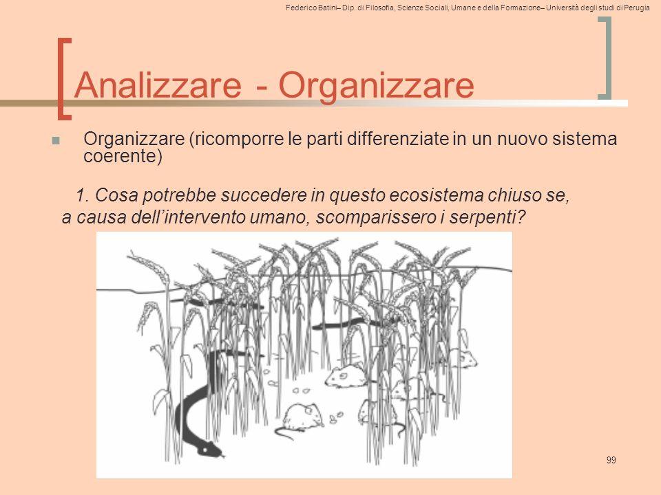 Federico Batini– Dip. di Filosofia, Scienze Sociali, Umane e della Formazione– Università degli studi di Perugia 99 Analizzare - Organizzare Organizza
