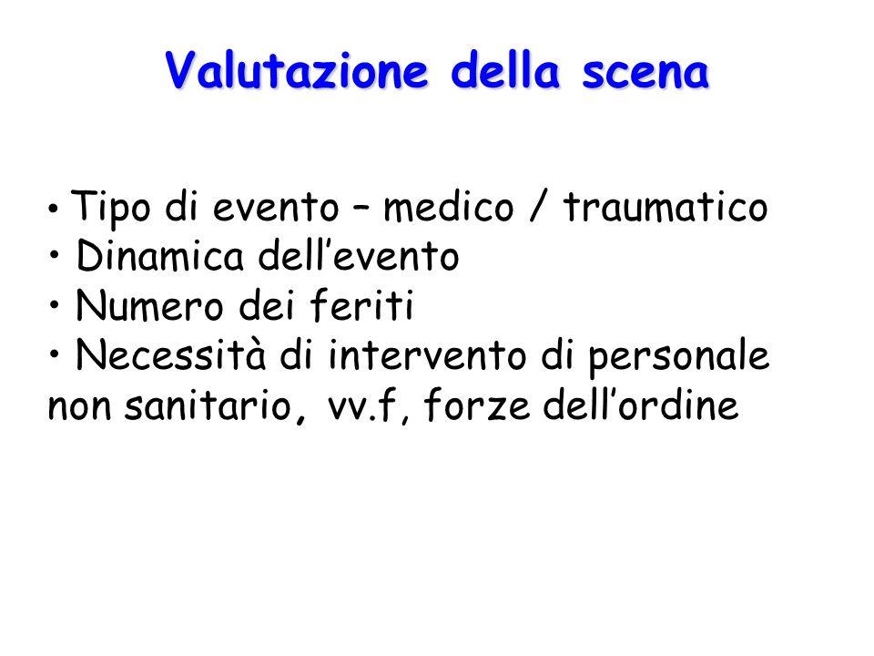 Valutazione della scena Tipo di evento – medico / traumatico Dinamica dell'evento Numero dei feriti Necessità di intervento di personale non sanitario, vv.f, forze dell'ordine