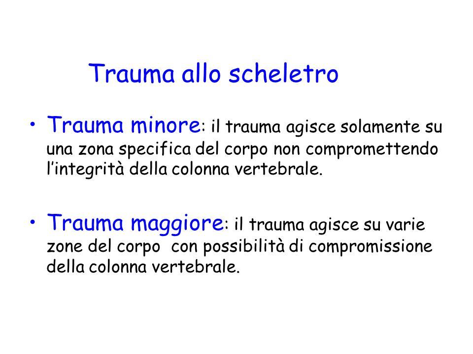 Trauma allo scheletro Trauma minore : il trauma agisce solamente su una zona specifica del corpo non compromettendo l'integrità della colonna vertebrale.