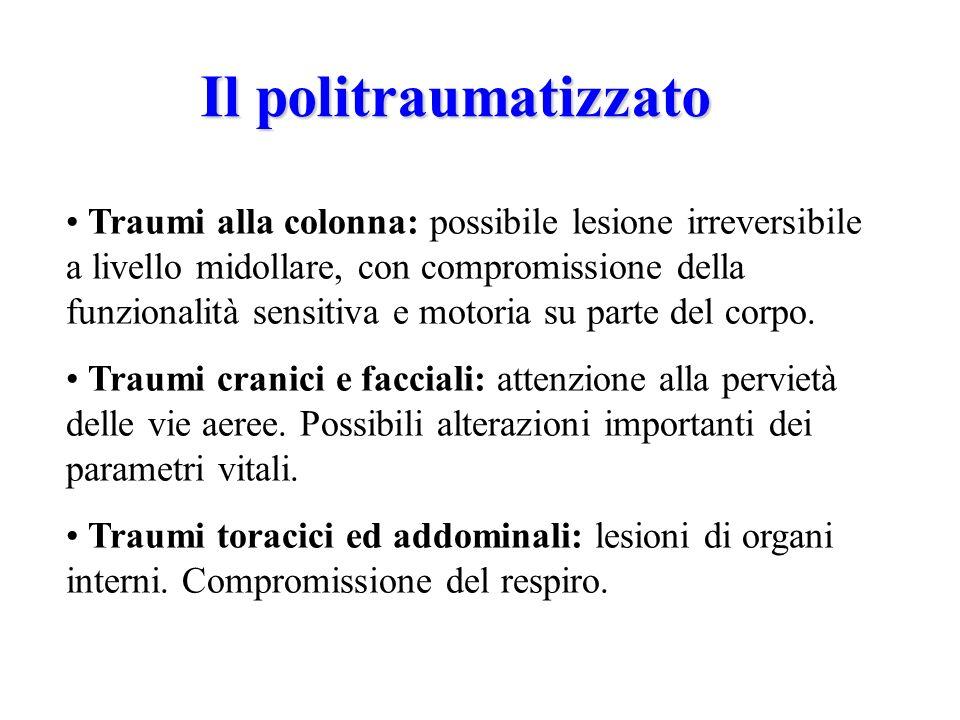 Il politraumatizzato Traumi alla colonna: possibile lesione irreversibile a livello midollare, con compromissione della funzionalità sensitiva e motoria su parte del corpo.