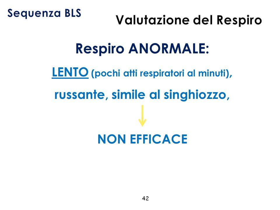Respiro ANORMALE: LENTO (pochi atti respiratori al minuti), russante, simile al singhiozzo, NON EFFICACE 42