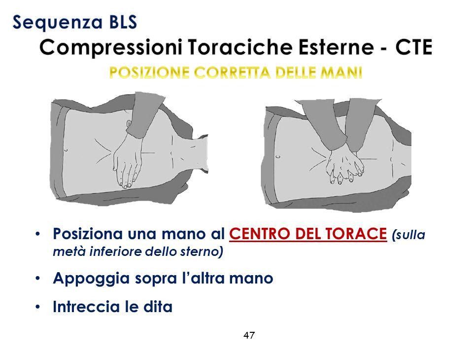 Posiziona una mano al CENTRO DEL TORACE (sulla metà inferiore dello sterno) Appoggia sopra l'altra mano Intreccia le dita 47