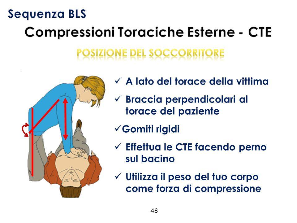 A lato del torace della vittima Braccia perpendicolari al torace del paziente Gomiti rigidi Effettua le CTE facendo perno sul bacino Utilizza il peso del tuo corpo come forza di compressione 48