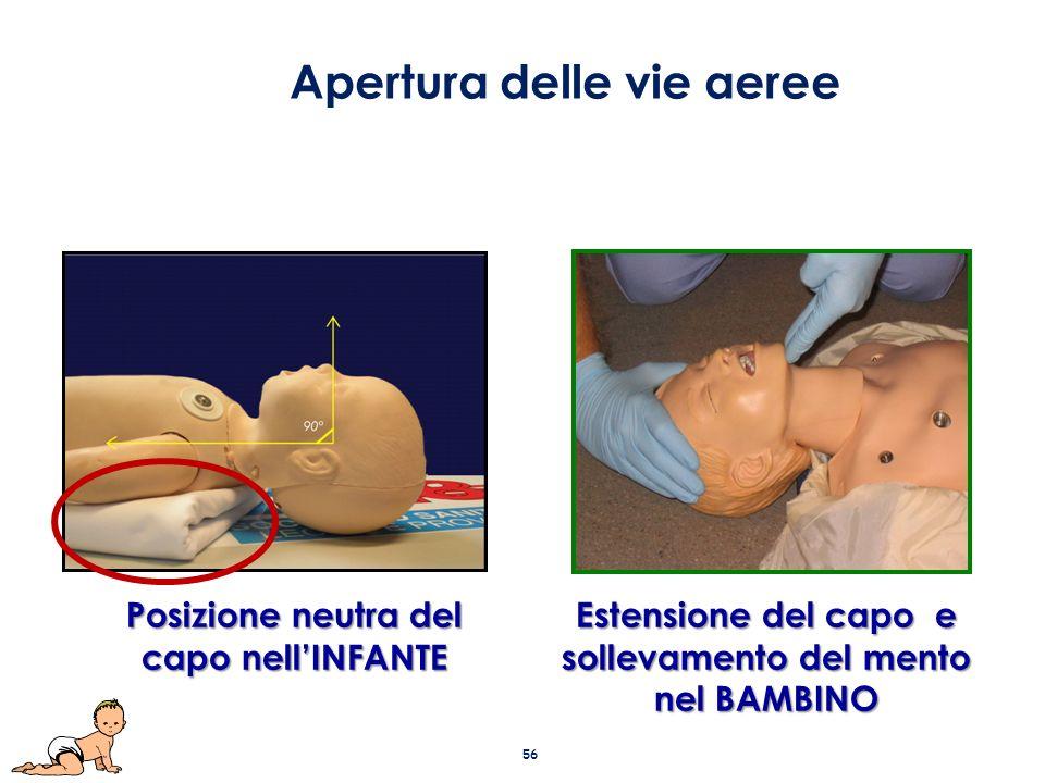 Estensione del capo e sollevamento del mento nel BAMBINO Posizione neutra del capo nell'INFANTE Apertura delle vie aeree 56