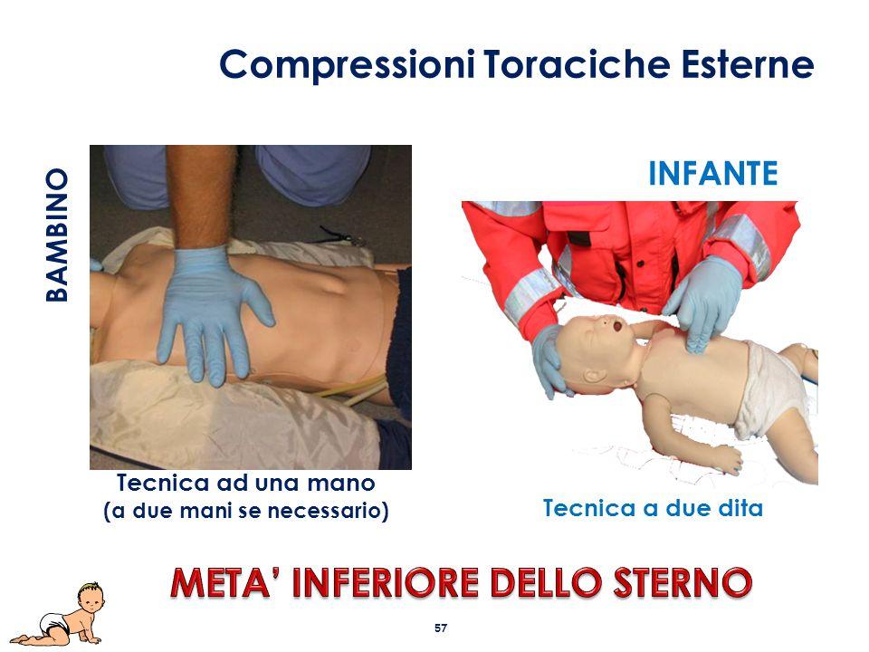 Tecnica ad una mano (a due mani se necessario) INFANTE Tecnica a due dita BAMBINO Compressioni Toraciche Esterne 57