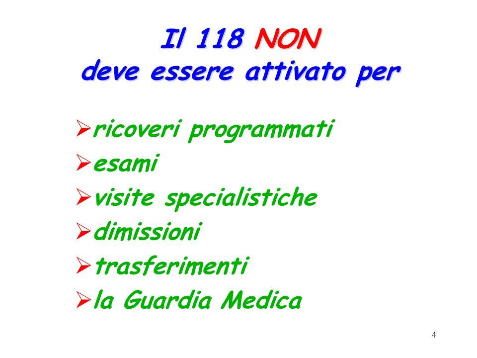 4 Il 118 NON deve essere attivato per  ricoveri programmati  esami  visite specialistiche  dimissioni  trasferimenti  la Guardia Medica