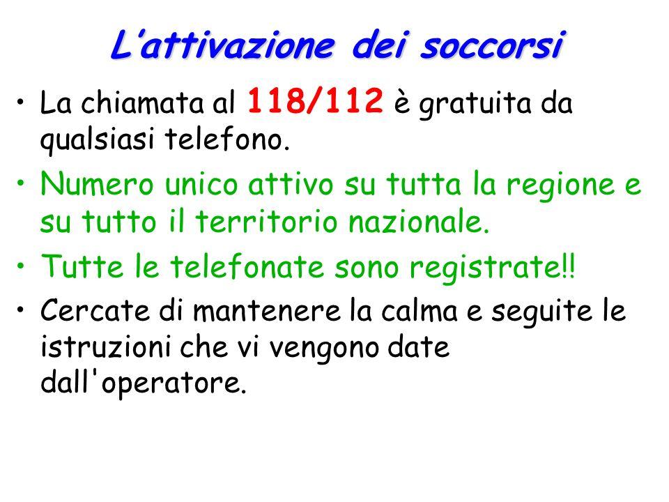 L'attivazione dei soccorsi La chiamata al 118/112 è gratuita da qualsiasi telefono. Numero unico attivo su tutta la regione e su tutto il territorio n