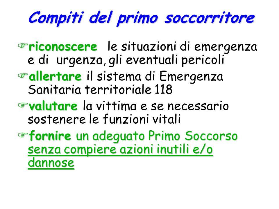  riconoscere  riconoscere le situazioni di emergenza e di urgenza, gli eventuali pericoli  allertare  allertare il sistema di Emergenza Sanitaria