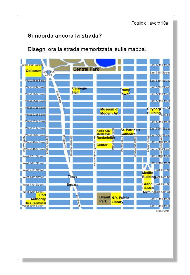 Foglio di lavoro 10a Si ricorda ancora la strada? Disegni ora la strada memorizzata sulla mappa.