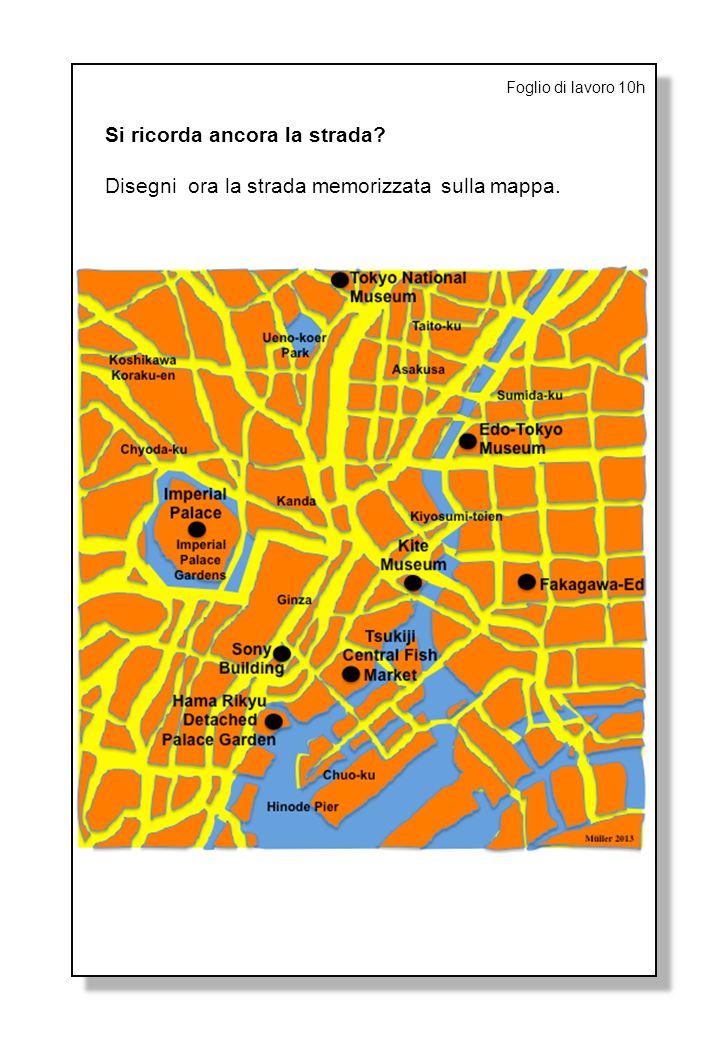 Foglio di lavoro 10h Si ricorda ancora la strada? Disegni ora la strada memorizzata sulla mappa.