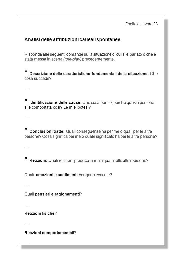 Foglio di lavoro 23 Analisi delle attribuzioni causali spontanee Risponda alle seguenti domande sulla situazione di cui si è parlato o che è stata messa in scena (role-play) precedentemente.