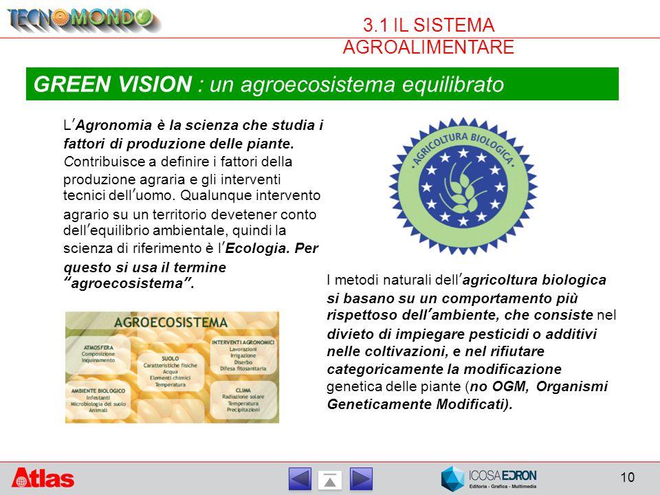 10 3.1 IL SISTEMA AGROALIMENTARE GREEN VISION : un agroecosistema equilibrato L'Agronomia è la scienza che studia i fattori di produzione delle piante.