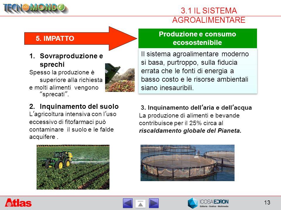 13 3.1 IL SISTEMA AGROALIMENTARE 5. IMPATTO Produzione e consumo ecosostenibile Il sistema agroalimentare moderno si basa, purtroppo, sulla fiducia er