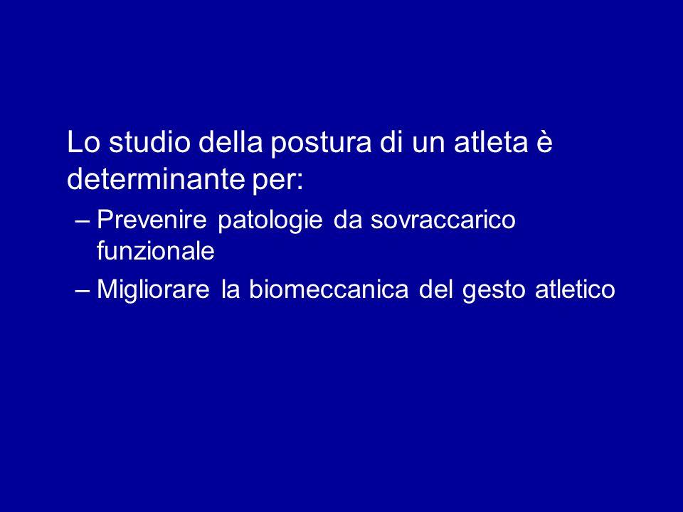 Lo studio della postura di un atleta è determinante per: –Prevenire patologie da sovraccarico funzionale –Migliorare la biomeccanica del gesto atletic