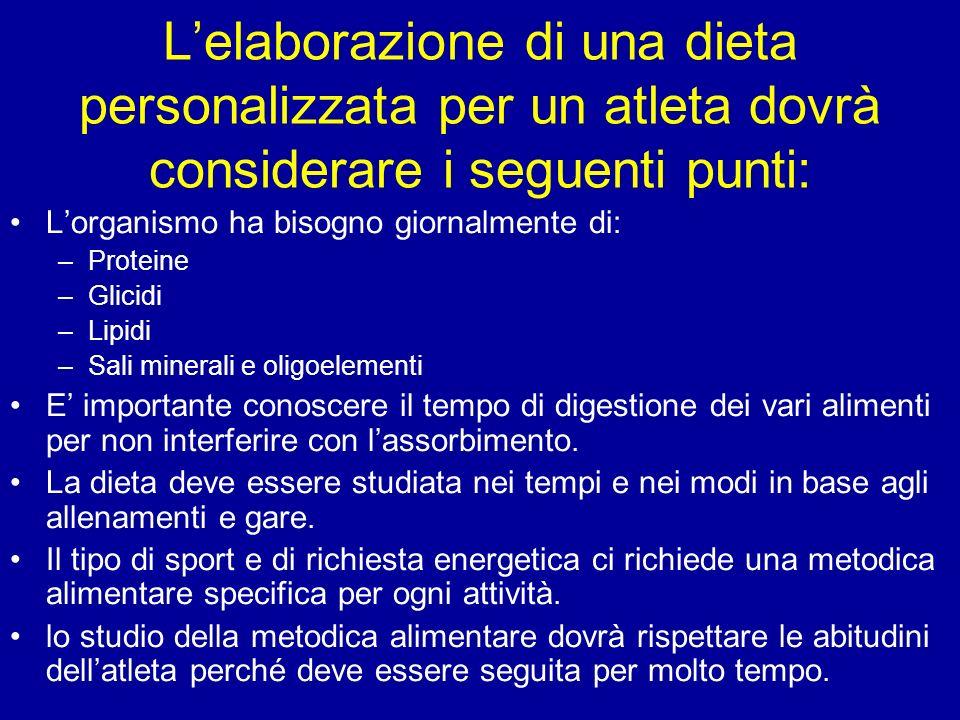 L'elaborazione di una dieta personalizzata per un atleta dovrà considerare i seguenti punti: L'organismo ha bisogno giornalmente di: –Proteine –Glicid
