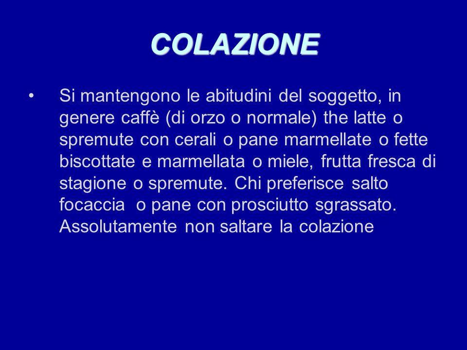 COLAZIONE Si mantengono le abitudini del soggetto, in genere caffè (di orzo o normale) the latte o spremute con cerali o pane marmellate o fette bisco