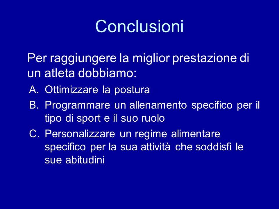 Conclusioni Per raggiungere la miglior prestazione di un atleta dobbiamo: A.Ottimizzare la postura B.Programmare un allenamento specifico per il tipo