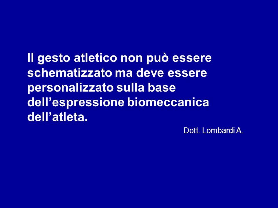 Il gesto atletico non può essere schematizzato ma deve essere personalizzato sulla base dell'espressione biomeccanica dell'atleta. Dott. Lombardi A.
