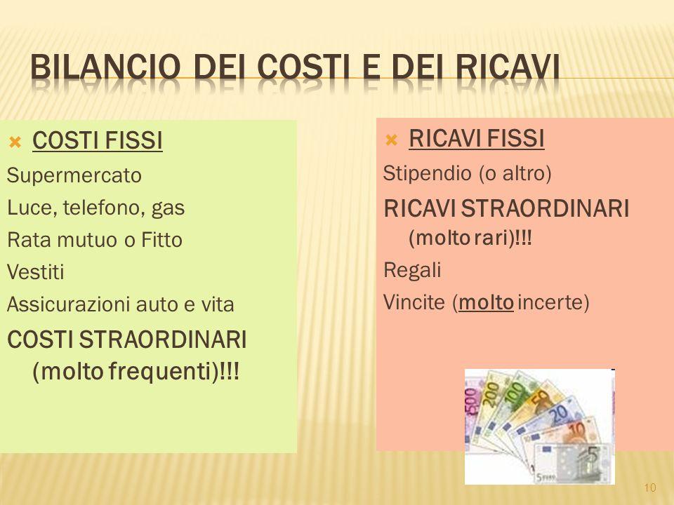 10  COSTI FISSI Supermercato Luce, telefono, gas Rata mutuo o Fitto Vestiti Assicurazioni auto e vita COSTI STRAORDINARI (molto frequenti)!!.