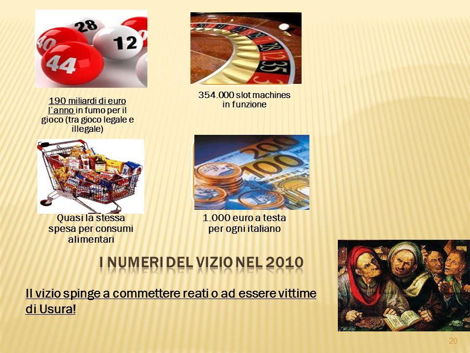 190 miliardi di euro l'anno in fumo per il gioco (tra gioco legale e illegale) 354.000 slot machines in funzione Quasi la stessa spesa per consumi alimentari 1.000 euro a testa per ogni italiano 20 Il vizio spinge a commettere reati o ad essere vittime di Usura!