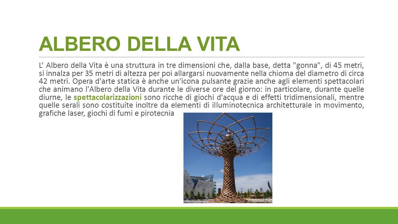ALBERO DELLA VITA L' Albero della Vita è una struttura in tre dimensioni che, dalla base, detta gonna , di 45 metri, si innalza per 35 metri di altezza per poi allargarsi nuovamente nella chioma del diametro di circa 42 metri.