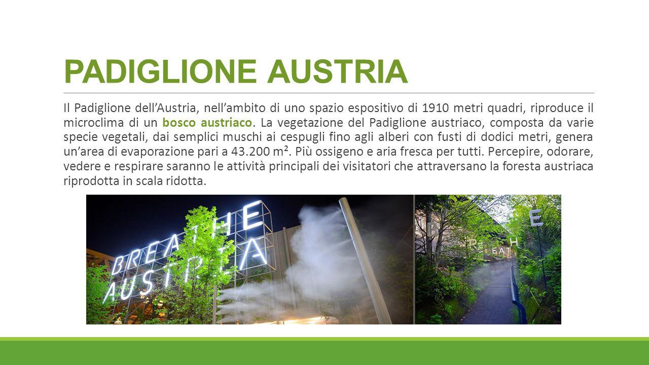 PADIGLIONE AUSTRIA Il Padiglione dell'Austria, nell'ambito di uno spazio espositivo di 1910 metri quadri, riproduce il microclima di un bosco austriac