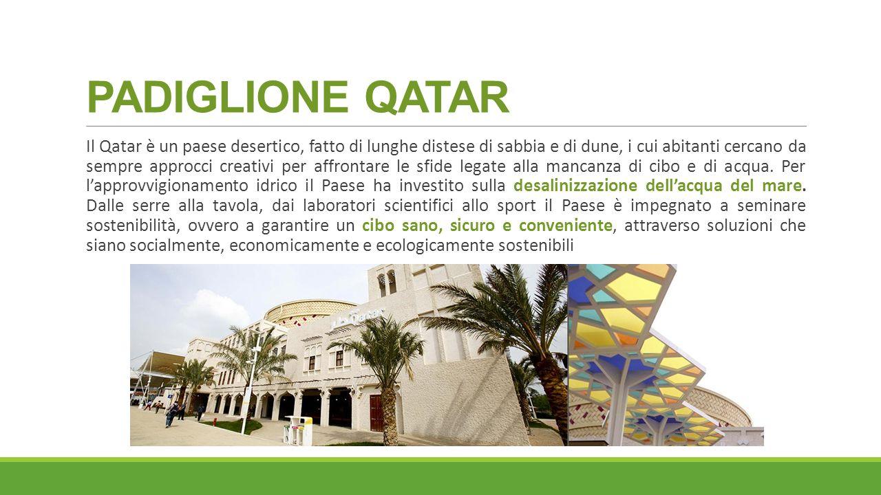 PADIGLIONE QATAR Il Qatar è un paese desertico, fatto di lunghe distese di sabbia e di dune, i cui abitanti cercano da sempre approcci creativi per affrontare le sfide legate alla mancanza di cibo e di acqua.