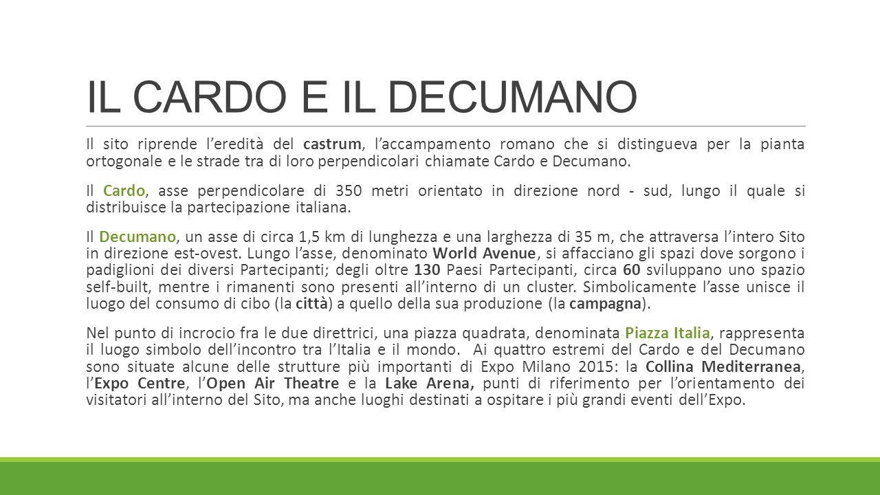 IL CARDO E IL DECUMANO Il sito riprende l'eredità del castrum, l'accampamento romano che si distingueva per la pianta ortogonale e le strade tra di loro perpendicolari chiamate Cardo e Decumano.