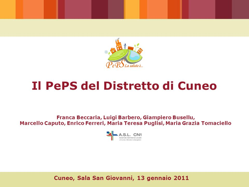 Il PePS del Distretto di Cuneo Cuneo, Sala San Giovanni, 13 gennaio 2011 Franca Beccaria, Luigi Barbero, Giampiero Busellu, Marcello Caputo, Enrico Fe