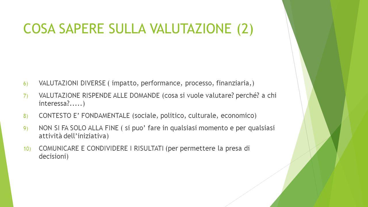 COSA SAPERE SULLA VALUTAZIONE (2) 6) VALUTAZIONI DIVERSE ( impatto, performance, processo, finanziaria,) 7) VALUTAZIONE RISPENDE ALLE DOMANDE (cosa si vuole valutare.