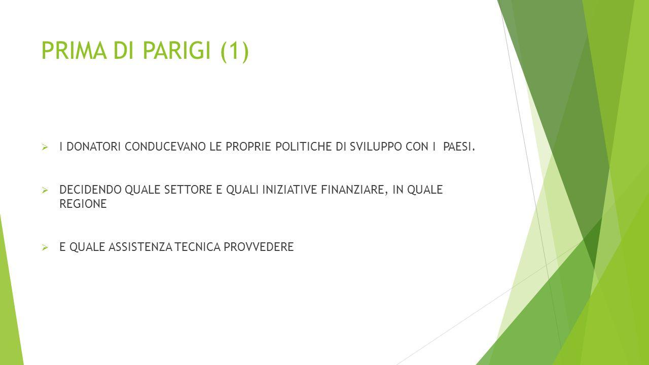 PRIMA DI PARIGI (1)  I DONATORI CONDUCEVANO LE PROPRIE POLITICHE DI SVILUPPO CON I PAESI.