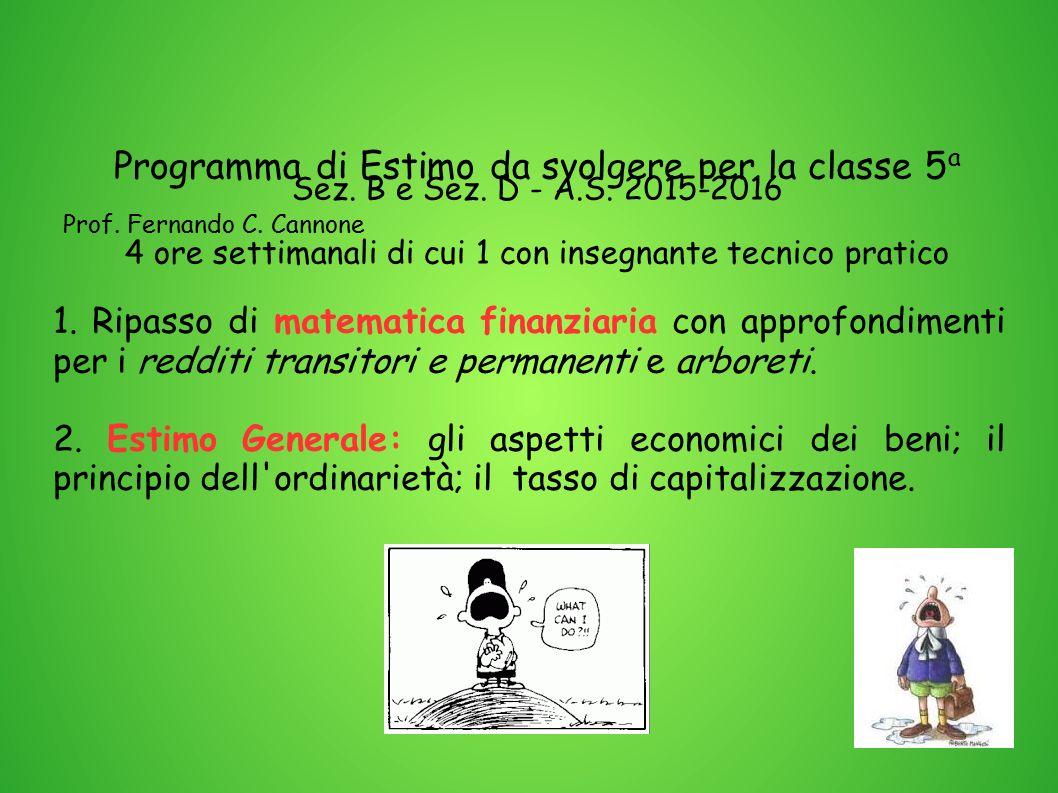 Programma di Estimo da svolgere per la classe 5 a Sez. B e Sez. D - A.S. 2015-2016 Prof. Fernando C. Cannone 4 ore settimanali di cui 1 con insegnante