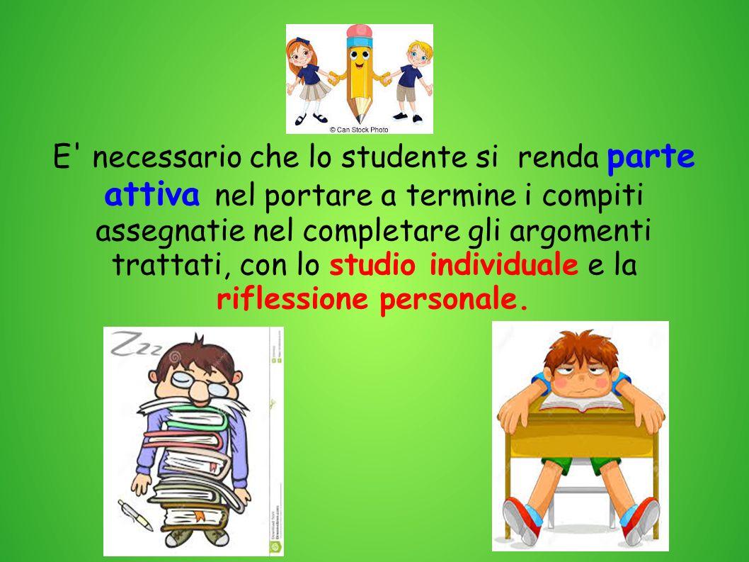E' necessario che lo studente si renda parte attiva nel portare a termine i compiti assegnatie nel completare gli argomenti trattati, con lo studio in