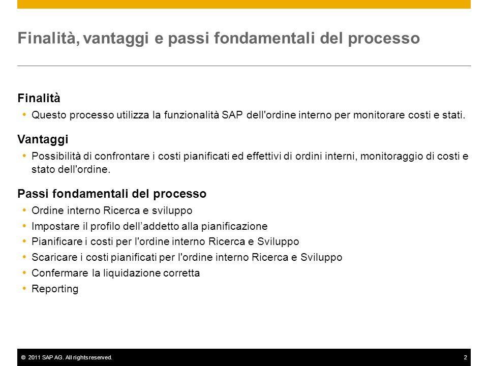 ©2011 SAP AG. All rights reserved.2 Finalità, vantaggi e passi fondamentali del processo Finalità  Questo processo utilizza la funzionalità SAP dell'
