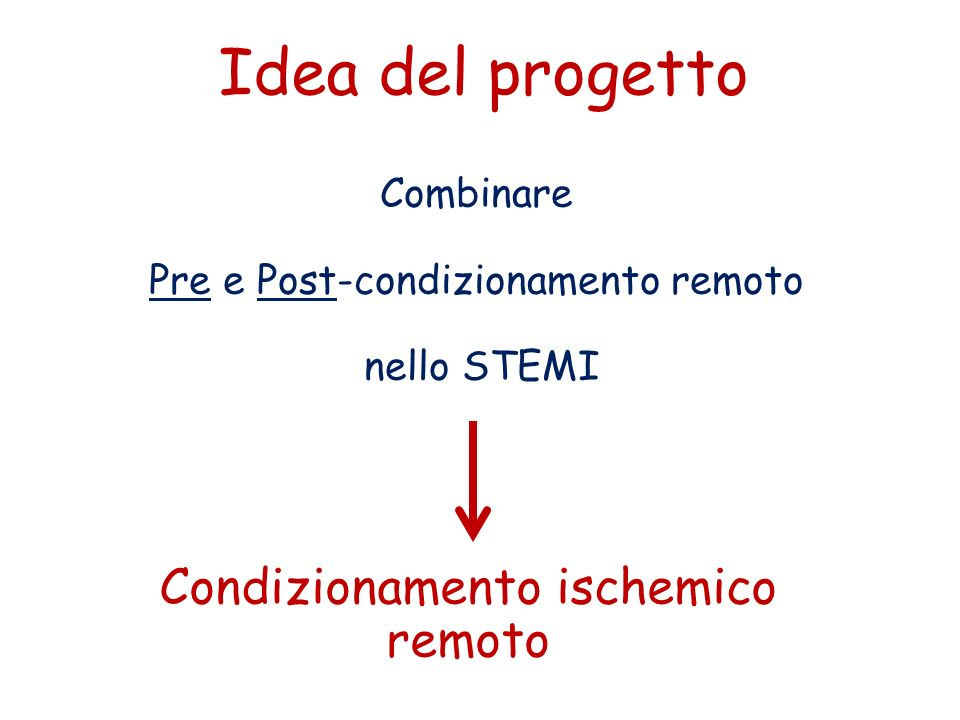 Idea del progetto Combinare Pre e Post-condizionamento remoto nello STEMI Condizionamento ischemico remoto