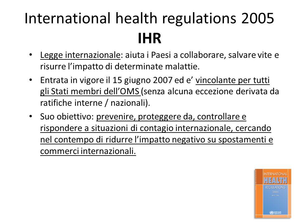 International health regulations 2005 IHR Legge internazionale: aiuta i Paesi a collaborare, salvare vite e risurre l'impatto di determinate malattie.
