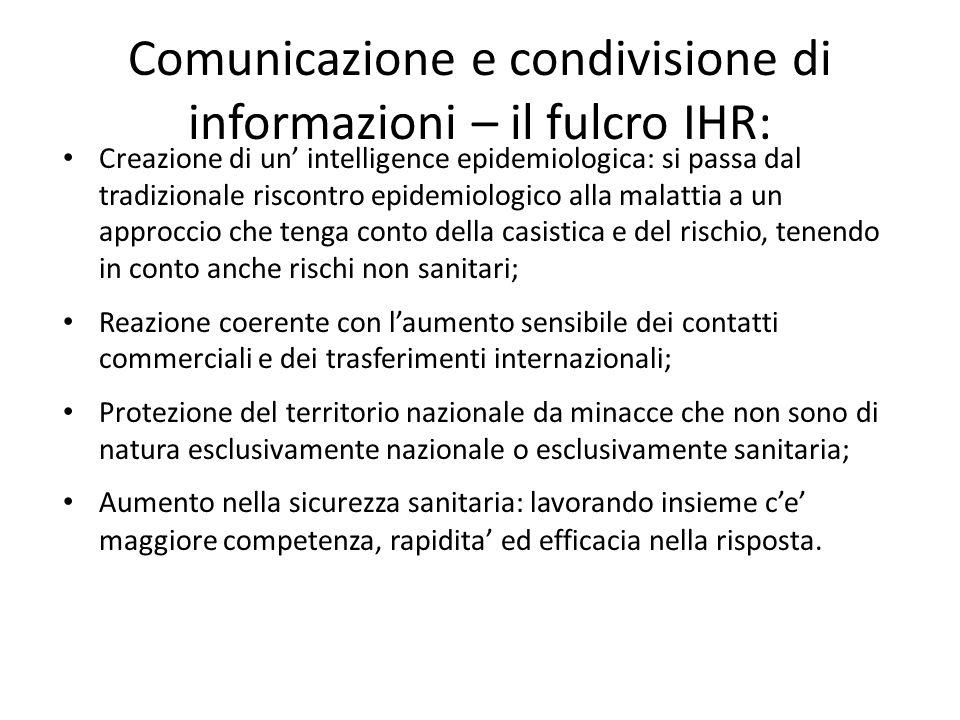 Comunicazione e condivisione di informazioni – il fulcro IHR: Creazione di un' intelligence epidemiologica: si passa dal tradizionale riscontro epidem
