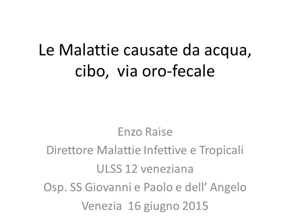Le Malattie causate da acqua, cibo, via oro-fecale Enzo Raise Direttore Malattie Infettive e Tropicali ULSS 12 veneziana Osp. SS Giovanni e Paolo e de