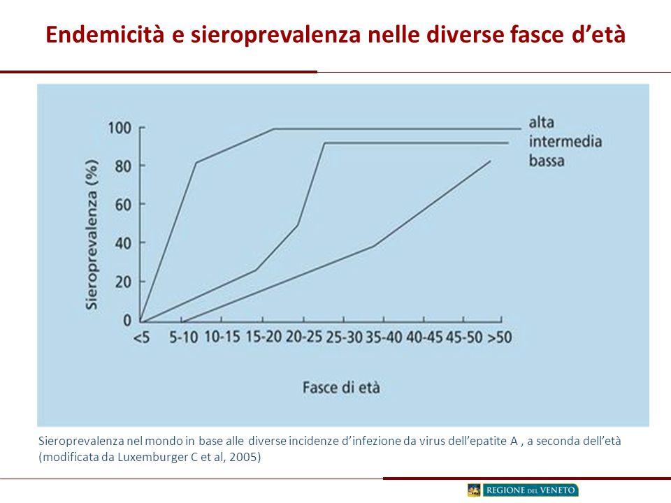 Endemicità e sieroprevalenza nelle diverse fasce d'età Sieroprevalenza nel mondo in base alle diverse incidenze d'infezione da virus dell'epatite A, a seconda dell'età (modificata da Luxemburger C et al, 2005)
