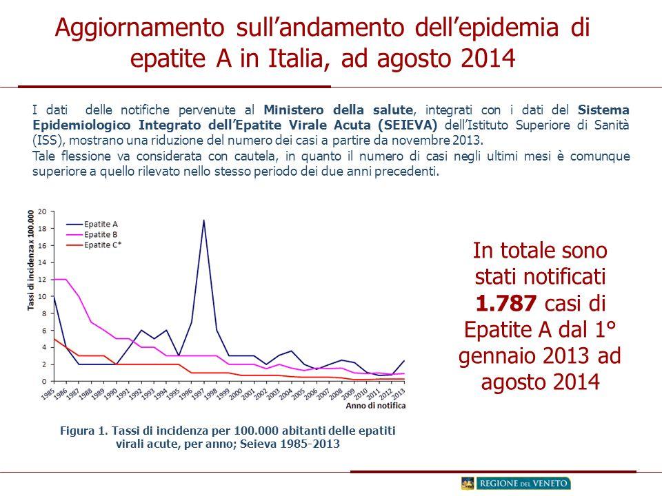 Figura 1. Tassi di incidenza per 100.000 abitanti delle epatiti virali acute, per anno; Seieva 1985-2013 I dati delle notifiche pervenute al Ministero
