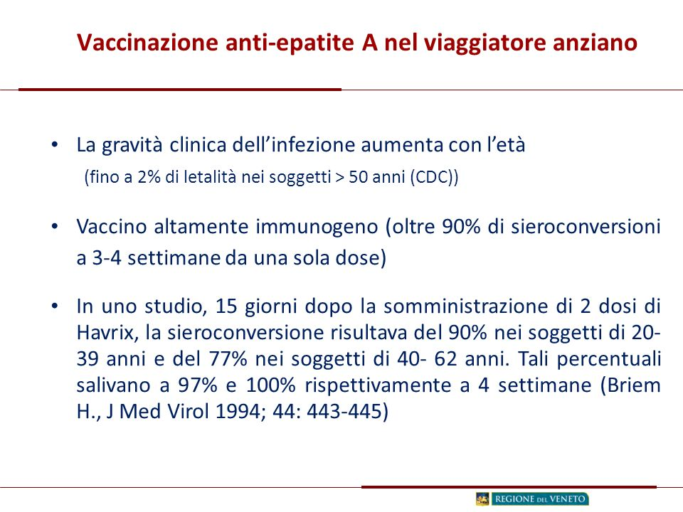 La gravità clinica dell'infezione aumenta con l'età (fino a 2% di letalità nei soggetti > 50 anni (CDC)) Vaccino altamente immunogeno (oltre 90% di sieroconversioni a 3-4 settimane da una sola dose) In uno studio, 15 giorni dopo la somministrazione di 2 dosi di Havrix, la sieroconversione risultava del 90% nei soggetti di 20- 39 anni e del 77% nei soggetti di 40- 62 anni.