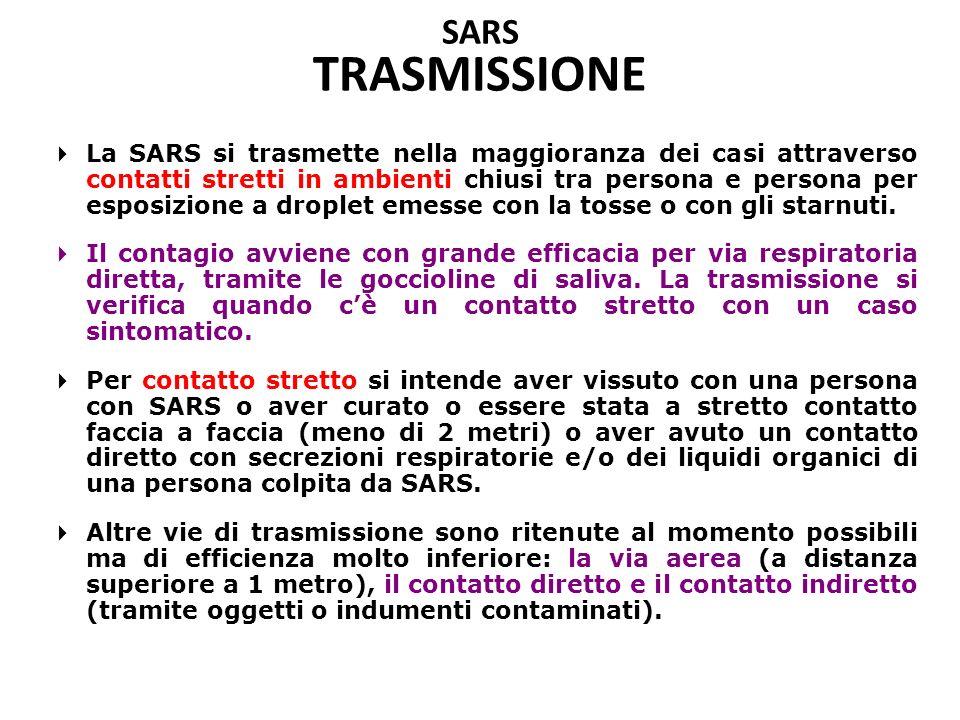 SARS TRASMISSIONE  La SARS si trasmette nella maggioranza dei casi attraverso contatti stretti in ambienti chiusi tra persona e persona per esposizione a droplet emesse con la tosse o con gli starnuti.
