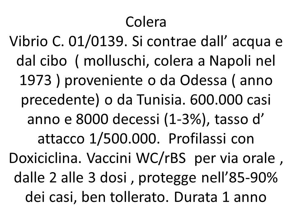 Colera Vibrio C. 01/0139. Si contrae dall' acqua e dal cibo ( molluschi, colera a Napoli nel 1973 ) proveniente o da Odessa ( anno precedente) o da Tu