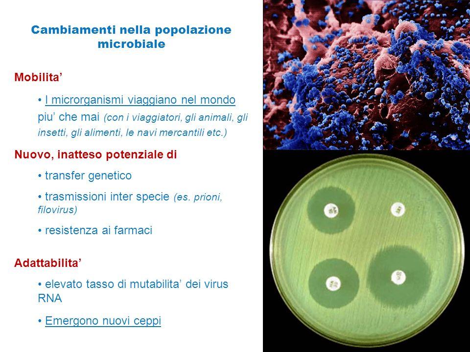 Cambiamenti nella popolazione microbiale Mobilita' I microrganismi viaggiano nel mondo piu' che mai (con i viaggiatori, gli animali, gli insetti, gli