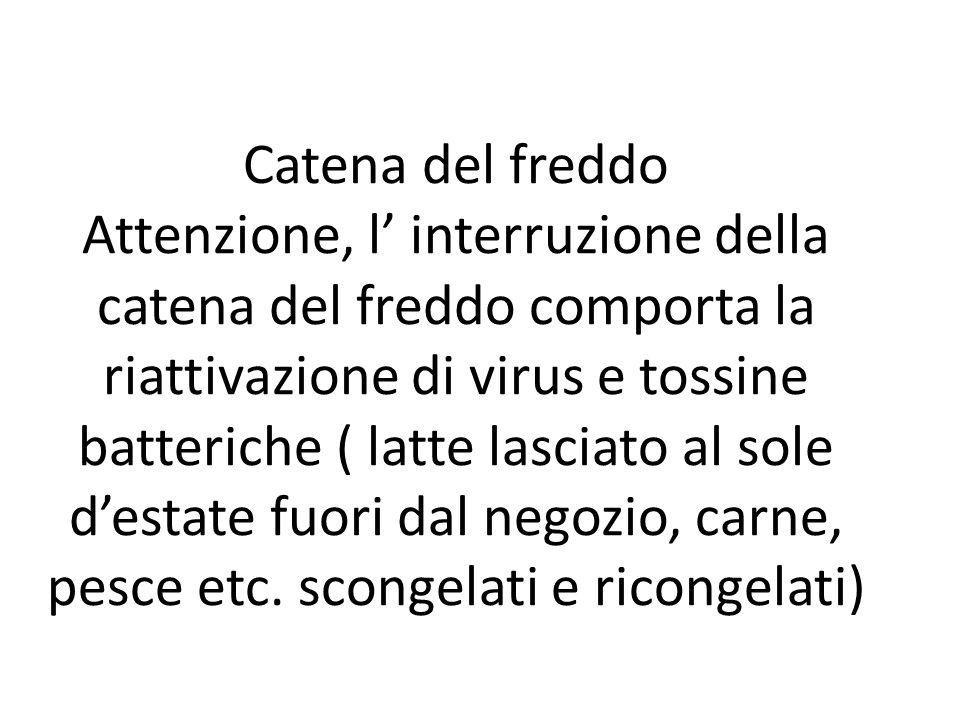 Catena del freddo Attenzione, l' interruzione della catena del freddo comporta la riattivazione di virus e tossine batteriche ( latte lasciato al sole