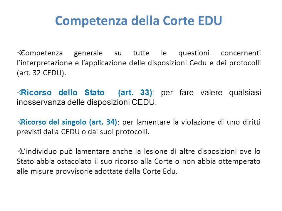 Competenza della Corte EDU  Competenza generale su tutte le questioni concernenti l'interpretazione e l'applicazione delle disposizioni Cedu e dei protocolli (art.