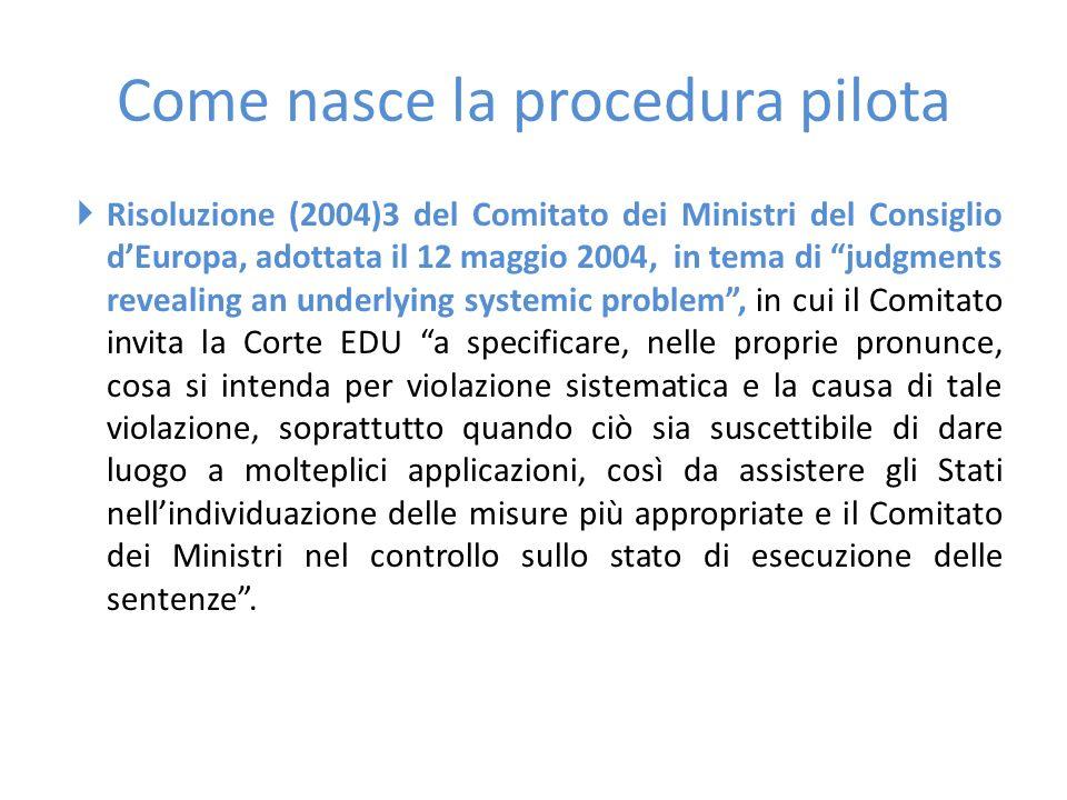 """Come nasce la procedura pilota  Risoluzione (2004)3 del Comitato dei Ministri del Consiglio d'Europa, adottata il 12 maggio 2004, in tema di """"judgmen"""